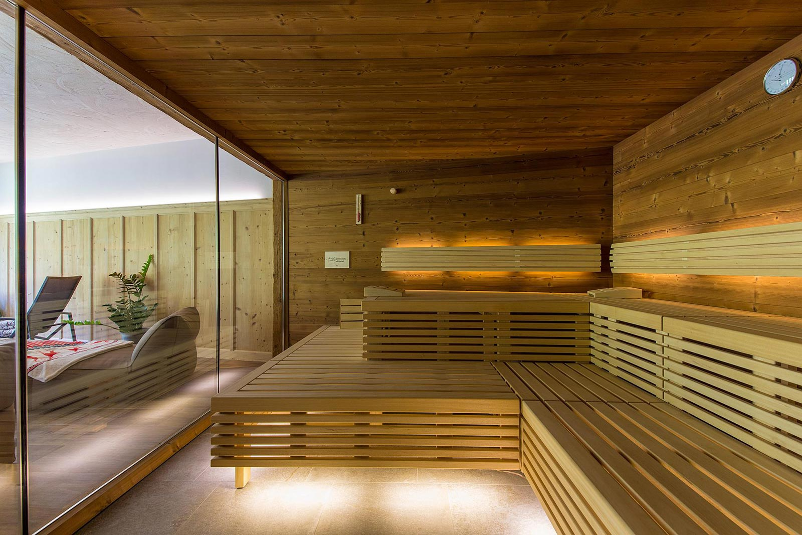 Detail of the sauna at the Residence in Val Passiria